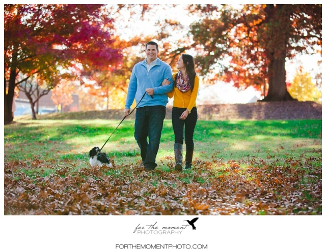 Autumn Forest Park Engagement Photo With Dog | For The Moment Photography